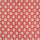 Orange Red Colour Dabu Block Print 38 inch Width Pin Tucks Cotton Fabric