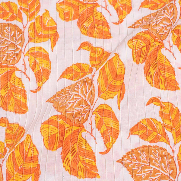 Off White Colour Leaves Block Print 38 inch Width Pin Tucks Cotton Fabric