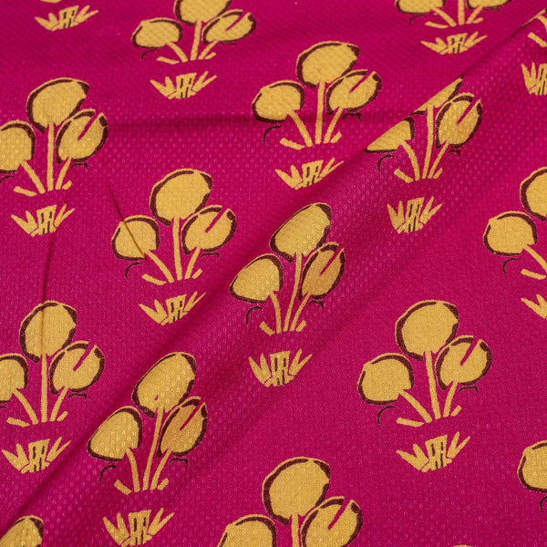Rani Pink Colour Discharge Print Rayon Dobby Fabric