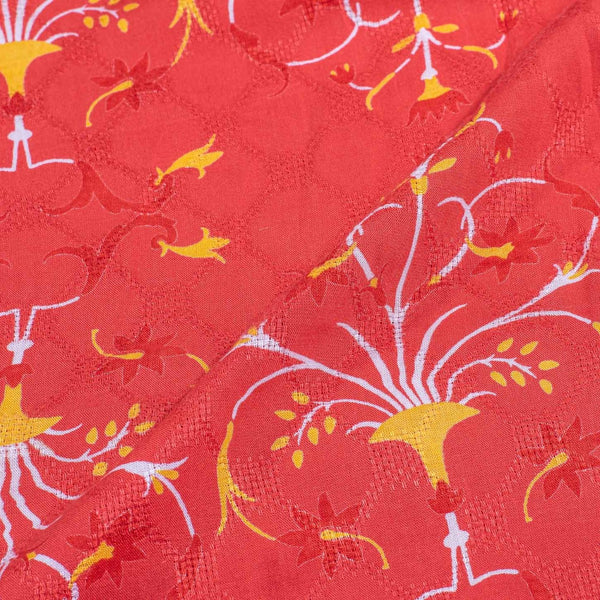 Carrot Colour Discharge Print 42 inches width Rayon Dobby Fabric