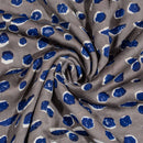 Grey Colour Geometric Block Print Cotton Modal Satin Fabric 42 inch Width