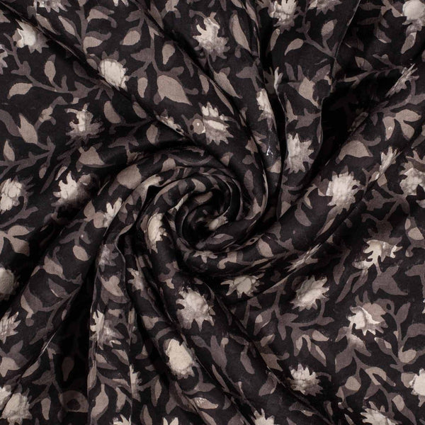 Carbon Black Colour Jawtha Block Print Cotton Modal Satin Fabric