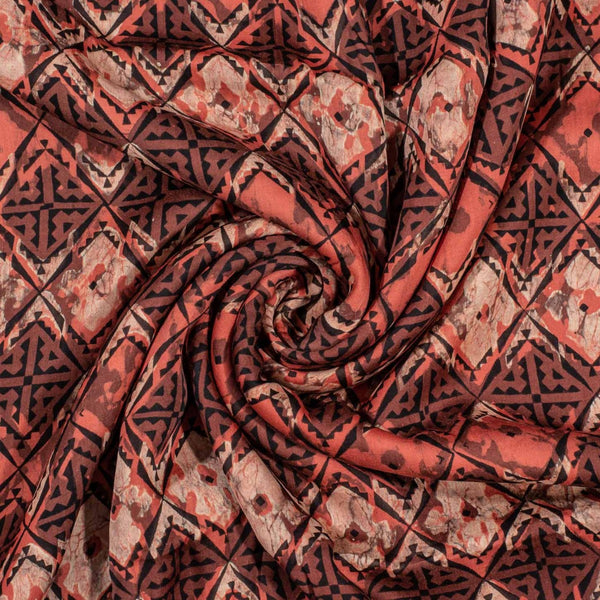 Brick Colour Bagru Block Print Cotton Modal Satin Fabric