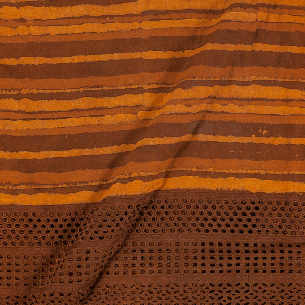 Dabu Cotton Brown Colour Cut Work Daman Fabric