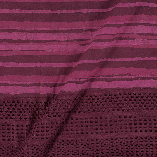 Dabu Cotton Magenta Colour Cut Work Daman Fabric