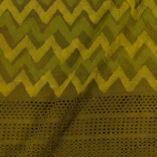 Dabu Cotton Olive Colour Cut Work Daman Fabric