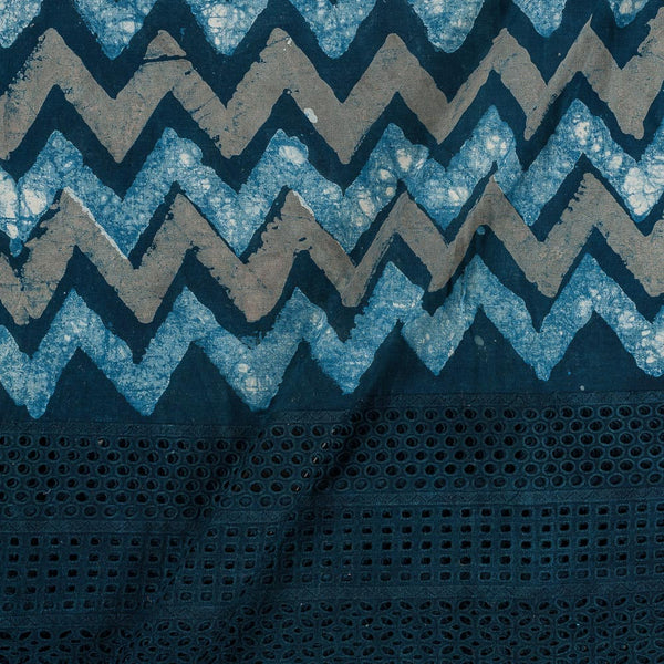 Dabu Cotton Indigo Colour Cut Work Daman Fabric