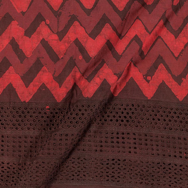 Dabu Cotton Brick Colour Cut Work Daman Fabric