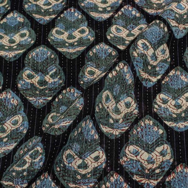 Black Colour Bagru Print Kantha Cotton Fabric