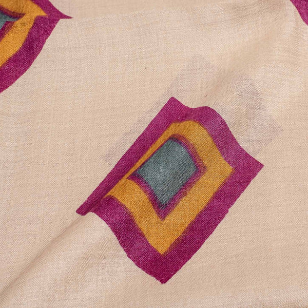 Beige Colour Geometric Block Print Pashmina Weave Silk Fabric Pre Cut Of 2.40 Meter