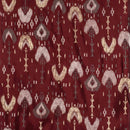 Maroon Colour Gold Leaves Print 42 inch Width Modal Chanderi Feel Polyester Fabric
