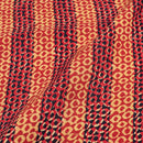 Poppy Red Colour Geometric Print Rayon Fabric With One Side Border 40 inch Width