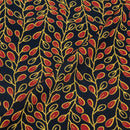 Navy Blue Colour Floral Jaal Print Rayon Fabric With One Side Border 40 inch Width