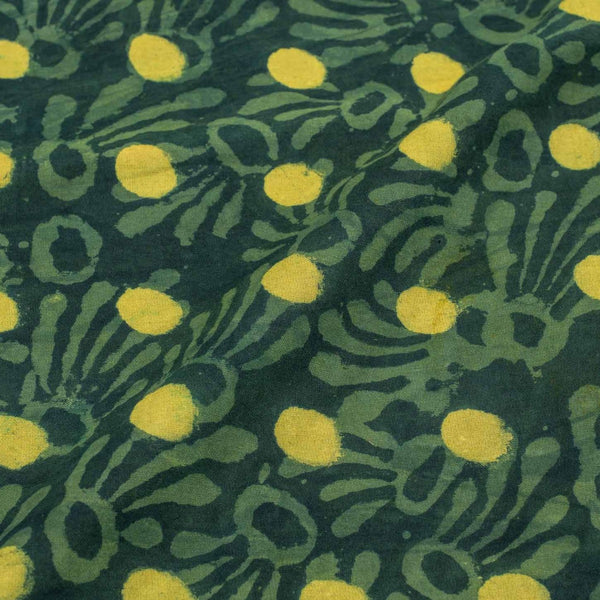 Bottle Green Colour Dabu Print Cotton Satin Fabric 42 inch Width