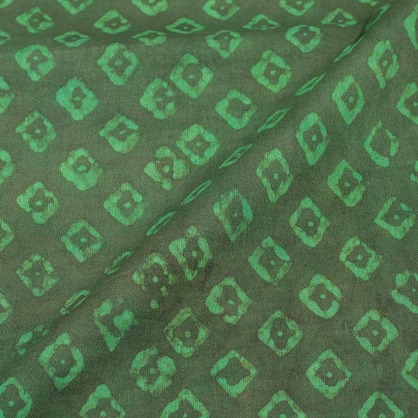 Moss Green Colour Dabu Print Cotton Satin Fabric 42 inch Width