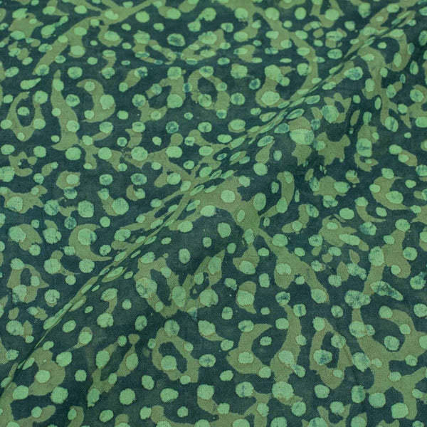 Teal Colour Dabu Print Cotton Satin Fabric 42 inch Width