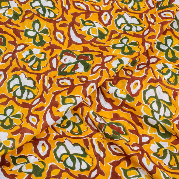 Golden Orange Colour Rapid Block Print Cotton Mal Fabric 48 inch Width