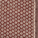 Maroon Colour Bagru Print Cotton Fabric With One Side Border 42 inch Width