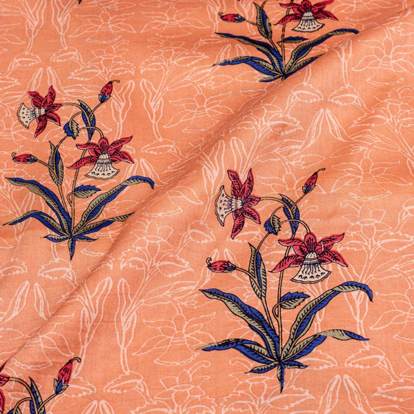 Peach Colour Rapid Screen Print Cotton Satin Fabric