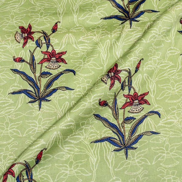 Pistachio Colour Rapid Screen Print Cotton Satin Fabric