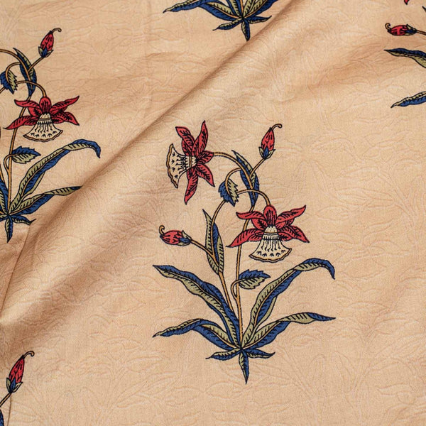 Beige Colour Rapid Screen Print Cotton Satin Fabric