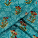Teal Blue Colour Floral Print 42 inch Width Santoon Fabric