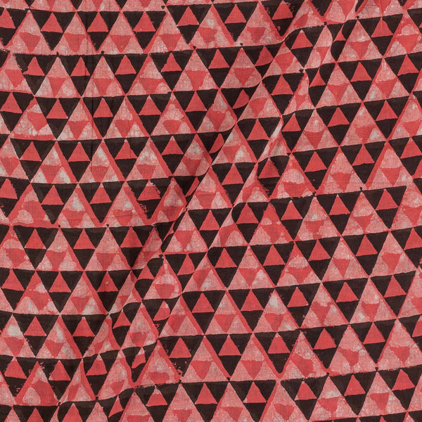 Cotton Coral Red Colour Geometric Block Print Fabric