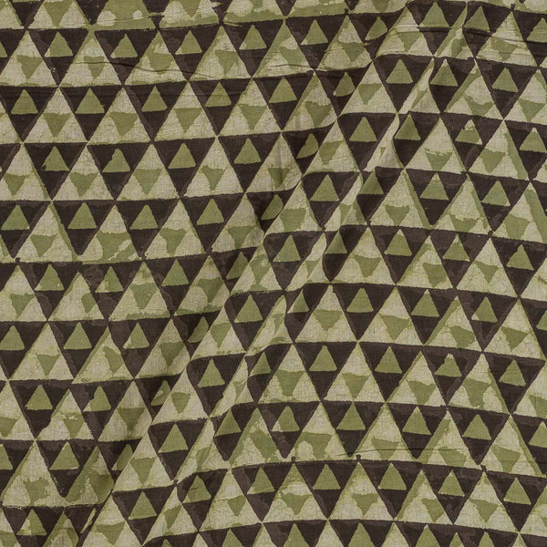 Cotton Olive Colour Geometric Block Print Fabric