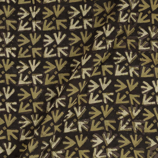 Cotton Brown Colour Geometric Block Print Fabric