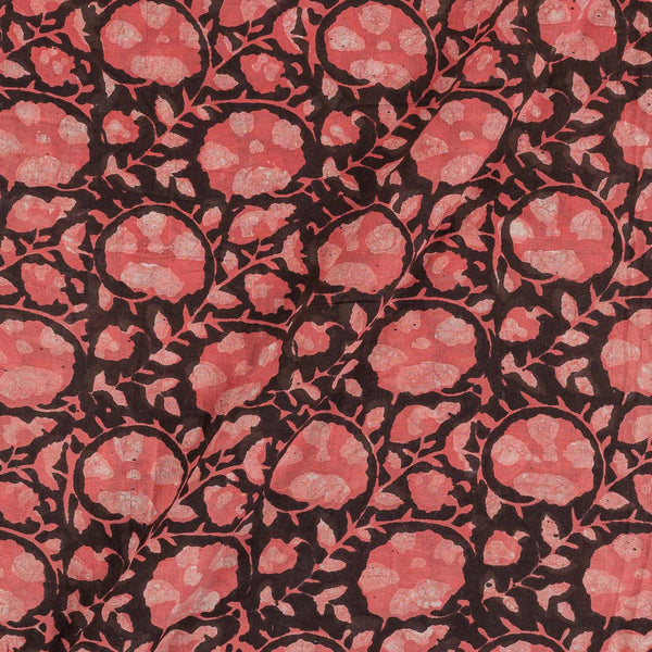Cotton Brown Colour Floral Jaal Block Print Fabric