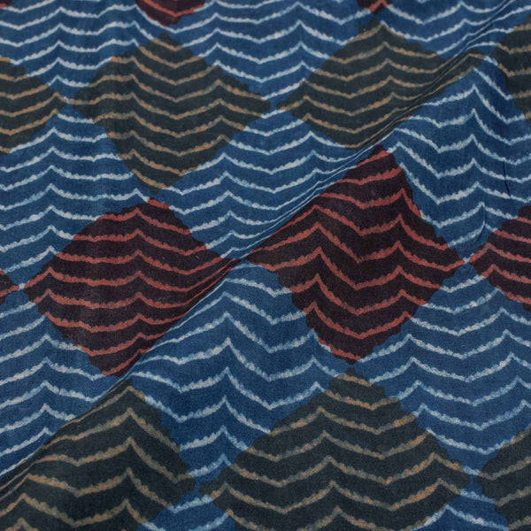Indigo Colour Geometric Print Jawatha Cotton Fabric