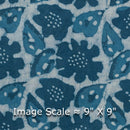 Mal Cotton Dusty Indigo Colour 43 Inches Width Floral Print Dabu Fabric