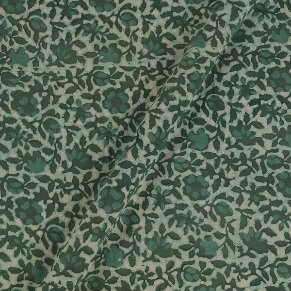 Soft Cotton Dabu Charcoal Green Colour Batik Effect Fabric