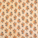 Light Peach Color Floral Print Slub Cotton Fabric