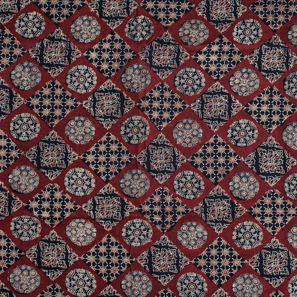Maroon Colour Natural Hand Block Ajrakh Process Cotton Fabric