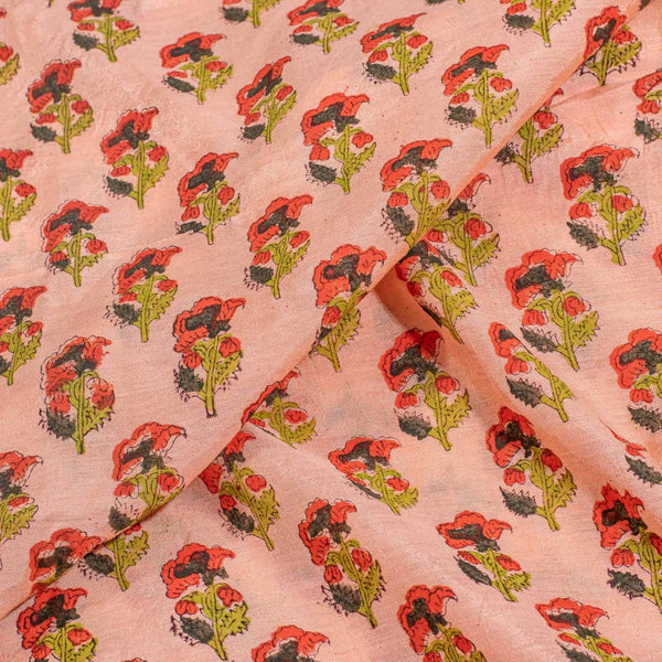 Peach Pink Colour Floral Block Print Viscose Muslin Fabric