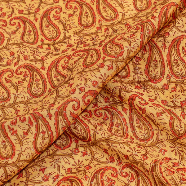 Yellow Colour Mughal Block Print Muslin Fabric With One Side Border