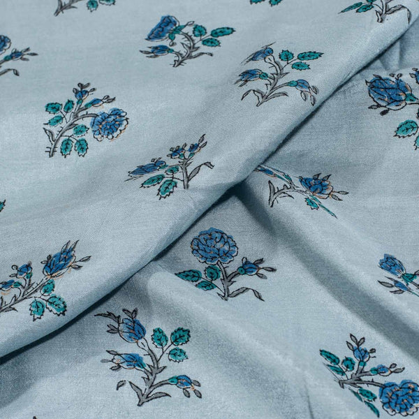 Cadet Blue Colour Mughal Block Print With One Side Border Muslin Fabric