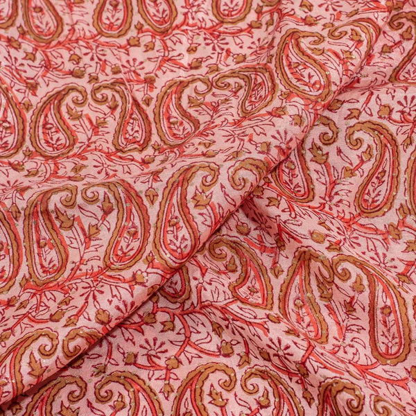 Peach Colour Mughal Block Print With One Side Border Muslin Fabric