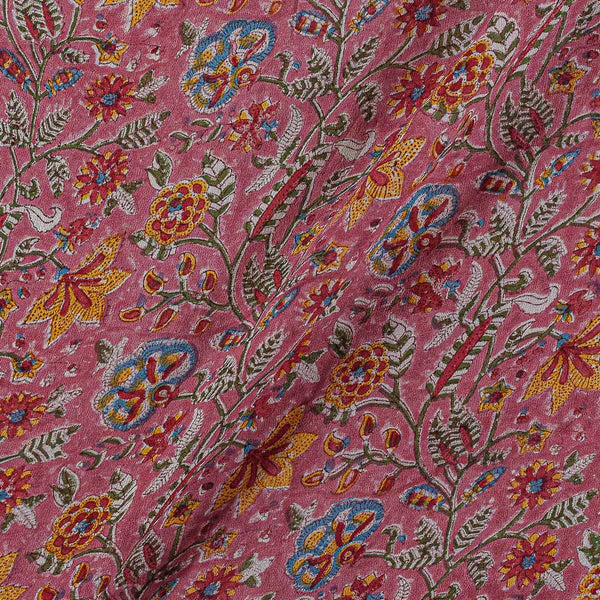 Georgette Berry Pink Colour 38 inches Width Floral Jaal Block Print Fabric