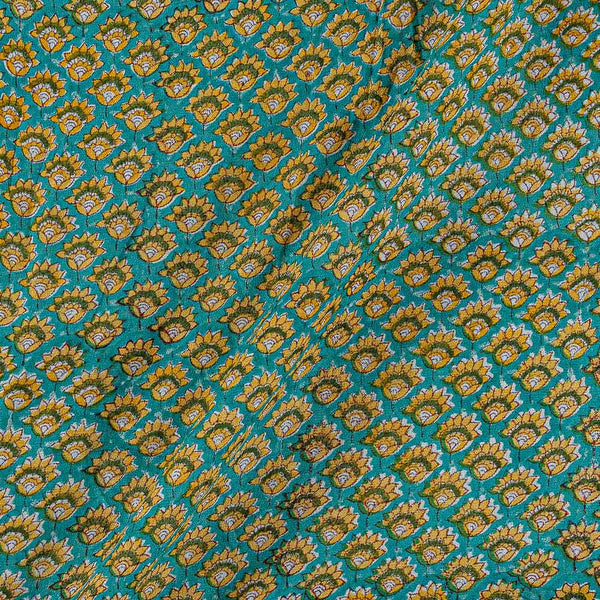 Georgette Sea Green Colour 38 inches Width Floral Block Print Fabric
