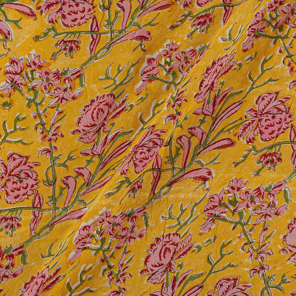Georgette Yellow Colour 38 inches Width Floral Jaal Block Print Fabric