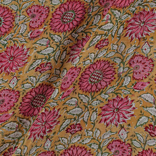 Georgette Mustard Colour 38 inches Width Floral Jaal Block Print Fabric