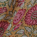 Georgette Mustard Colour 38 inches Width Floral Jaal Block Print Fabric cut of 0.40 Meter