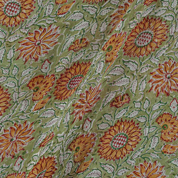 Georgette Light Green Colour 38 inches Width Floral Jaal Block Print Fabric