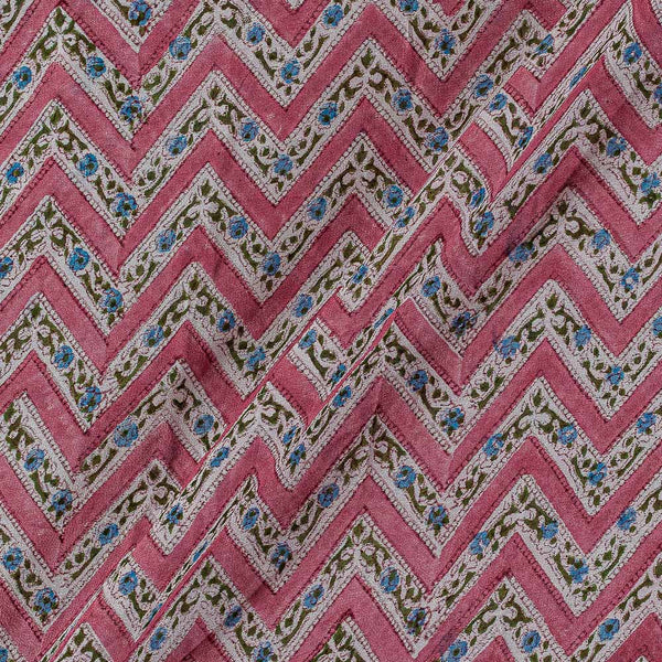 Georgette Berry Pink Colour 38 inches Width Chevron Block Print Fabric