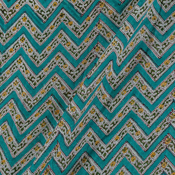 Georgette Aqua Colour 38 inches Width Chevron Block Print Fabric
