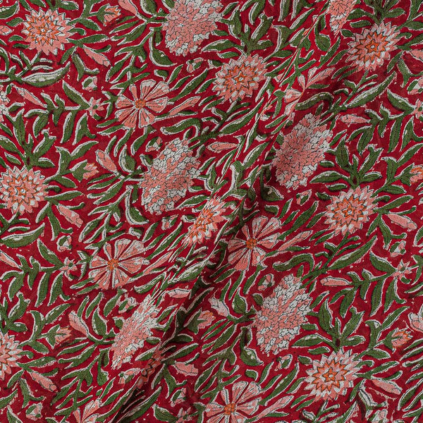 Georgette Red Colour 38 inches Width Floral Jaal Block Print Fabric