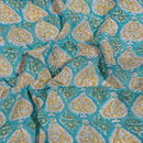 Turquoise Colour Leaves Block Print Georgette Fabric 38 inches Width