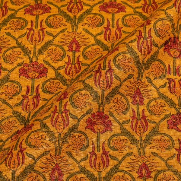 Golden Orange Colour Floral Jaal Print Nebs Cotton Fabric